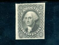 USAstamps Unused FVF US 1857 Washington Imperforated Black Scott 17 OG MLH