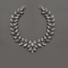 Black Rhinestone Diamante Crystal Sew on Chain Applique Motif Wedding Trim B201