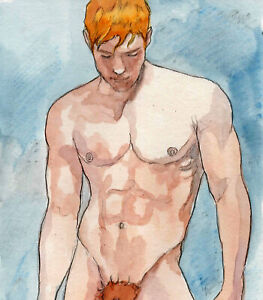 ORIGINAL LARGE MALE NUDE Watercolor - MATHIEU - by GERMANIA