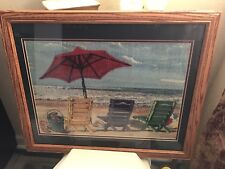 Needlepoint Like Fabric Matted & Framed Under Glass Beach Scene Chairs, Umbrella