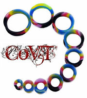 Pair 8g-30mm Rainbow With Black Thin Earskin Silicone Tunnels Gauges Plugs Blue