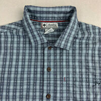 Columbia Vertex Button Up Shirt Mens Large Short Sleeve Blue Check Casual Outdoo