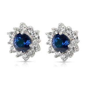 Tiffany & Co. Sapphire & Diamond Earrings in Platinum 1.06 CTW