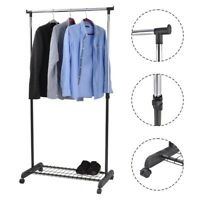 Metal Rack Clothes Hanger Rolling Collapsible Clothing Shelf Height Adjustable
