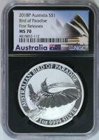 2018 P $1 Australia Bird Of Paradise 1 oz .9999 Silver NGC MS 70 First Releases