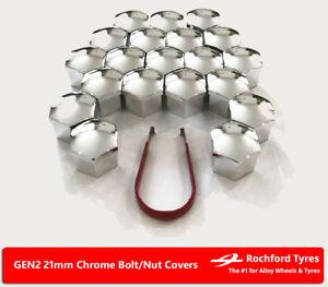 Chrome Wheel Bolt Nut Covers GEN2 21mm For Nissan Juke 10-17