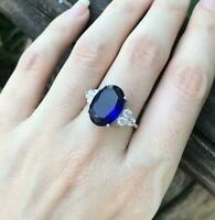 1.6ct Oval Cut Blue Sapphire Round Accents Engagement Ring 14k White Gold Finish