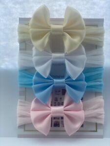 Baby Headbands Satin Bow Tiny 2 Inches Bow Baby Mini Bow Soft Band Newborn Girl
