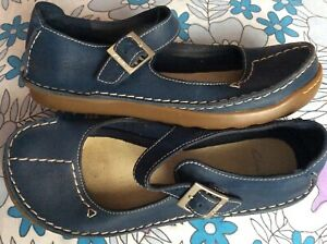 Clarks soft blue leather stitched low wedge buckled Mary Jane t-bar shoes 5.5 39