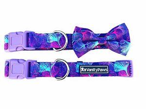 purple dog puppy wedding bow collar