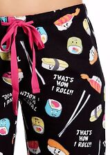 NWT PJ Salvage Black Flannel COLORFUL SUSHI Pajama/Lounge Pants XL Pink/Blue FUN