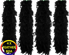 Bulk 4X Black Feather Boa Burlesque Hen Night Halloween Fancy Dress Party Lot