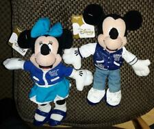 Disney Mickey & Minnie Mouse Letterman jacket bean bag plush set with tags