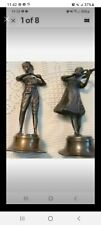 Vintage Brass Flute And Violin Player. Statues Boy And Girl. Collectible.