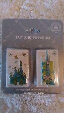 Disneyland Cinderella castle Tomorrowland  salt and pepper shaker NIB Retired