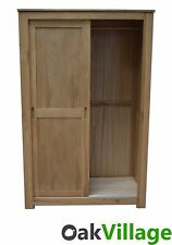 Oak 2 Door Sliding Wardrobe / Oak Double Wardrobe / Bedroom / New Bloomsbury
