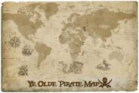 Ye Olde Pirate Map by ProMaps Art Print Poster 36x54 inch