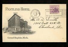 US Postal History #732 Advertising Pantlind Hotel 1935 Grand Rapids MI to OH