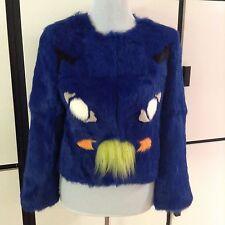 NWT Roschterra Cat Face Fur Coat Rabbit Blue Jacket Blazer 2 Avail. Sm MSRP 875