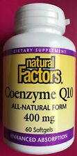 Natural Factors Coenzyme Q10 400mg 60 Softgels Exp 1/2020 All Natural Form