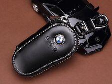 Black Genuine Leather Car Key Holder Keychain Ring Case Bag For Bmw   T1