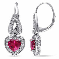 Amour Sterling Silver Created Ruby and White Sapphire Heart Leverback Earrings