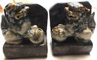 Vintage Pair of Chinese Foo Porcelain Dogs Book Ends Enameled