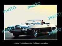 OLD LARGE HISTORIC PHOTO OF 1969 PONTIAC FIREBIRD CONVERTIBLE LAUNCH PRESS PHOTO