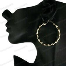 GOLD TWIST 5cm big HOOPS FASHION EARRINGS twisted bamboo HOOP gold tone plated