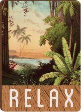"""Tropical Beach RELAX Wooden Refrigerator Magnet, 2.5"""" x 3.5"""""""
