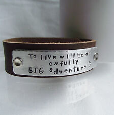 "Handmade Personalised ""...an awfully BIG adventure"" Leather Cuff Bangle Bracelet"