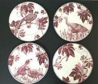 "WILLIAMS SONOMA Salad Luncheon 9"" Plates Maroon Autumn Vine Pattern Set of 4 NEW"