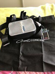 Axel Concept BNWT Sinead Cross Body Long Strap Handbag Silver & Black Dust Bag