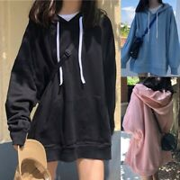 Fashion Women Pocket Hooded Shirt Loose Casual Top Sweatshirt Long Sleeve Blouse