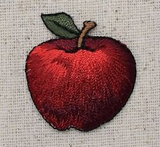 Iron On Embroidered Applique Patch Small Dark Red Apple with Leaf Fruit