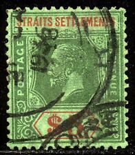 Straits Settlements #201 Used - 1921 $5 Green & Red ($45)