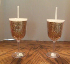 Plastic Wine Glass Gold Glitter Sparkle Slant Collections 13oz  NEW NWT set of 2