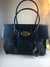 Mulberry for Target Denim Blue Faux Patent Leather Quilted Bayswater Bag Purse