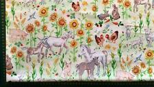 COUNTRY DAYS FARM ANIMALS BABIES SHEEP HORSES CHICKENS COTTON QUILT FABRIC