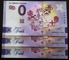 Billet 0 £ Euro ZERO Pound Souvenir 1ST LIMITED EDITION 2021 GBAA N° Naissance