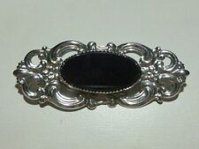 COLLECTIBLE WOMENS BEAU STERLING SILVER ONYX BROOCH PIN ESTATE ORNATE FLORAL