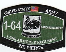 ARMY 1st Battalion 64th Armored Regiment MOS Military Patch WE PIERCE