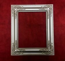 BEAUTIFUL - Silver Leaf Ornate Oil Painting Carved Wood Picture Frame - L@@K