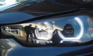 Pack of 4 - Smoked C Shape Crystal BMW E90 E92 M3 M4. Angel Eyes LED