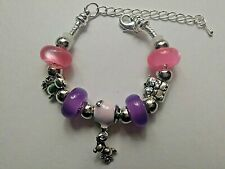 Toddler / Child Handmade Silver TEDDY BEAR Bracelet With PINK AND LILAC Beads