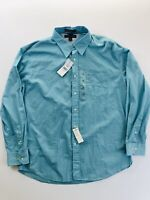 Tommy Hilfiger Graduate End On End Teal Button Up Shirt Men's Size XL Teal Green