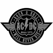 AC/DC Men's Rock N Roll Will Never Die Cut-Out Woven Patch Black Rockabilia