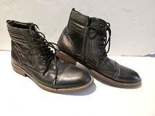 Steve Madden leather  Wing Tip Ankle Boots Leather Black Lace Up sz10