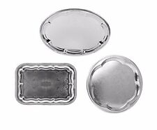 Set of 3 Rectangle, Oval, Round Silver Effect Serving PlateTray Platter Mirror