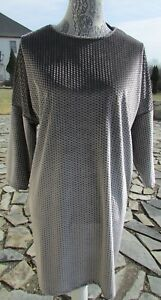 NWT ZARA WOMAN BASIC COLLECTION velvet short sleeve dress Silver/gray print M